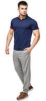 Мужская футболка поло комфортная цвет темно-синий-красный модель 6073, фото 1