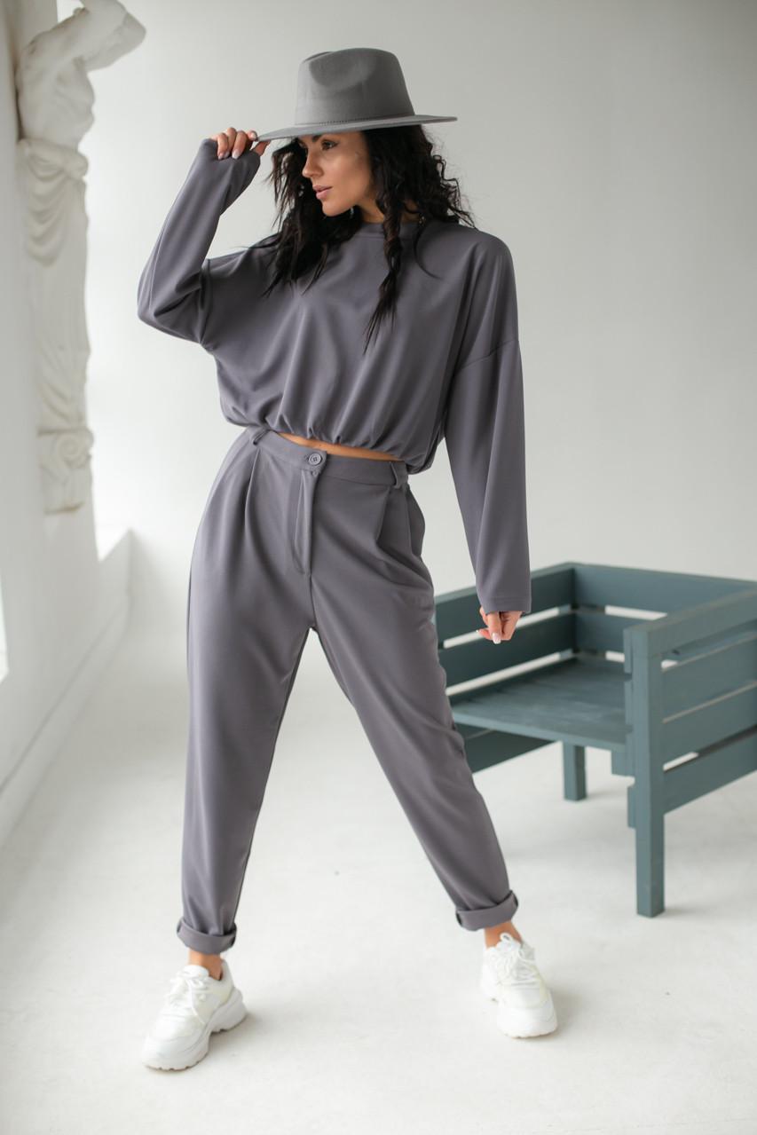 Лаконичный костюм-двойка Etica - серый цвет, XS (есть размеры)