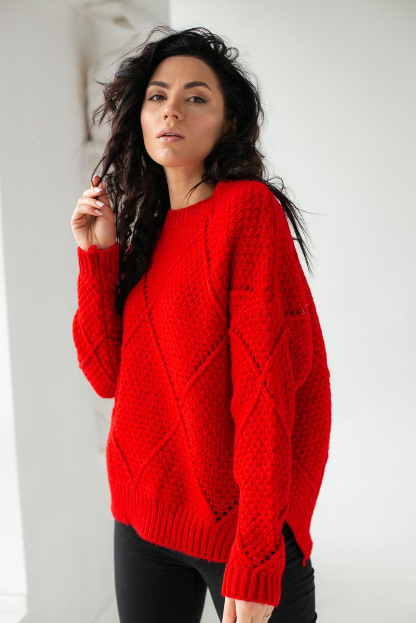 Теплый свитер крупной вязки ромбы LUREX - красный цвет, L (есть размеры)