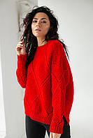 Теплый свитер крупной вязки ромбы LUREX - красный цвет, L (есть размеры), фото 1