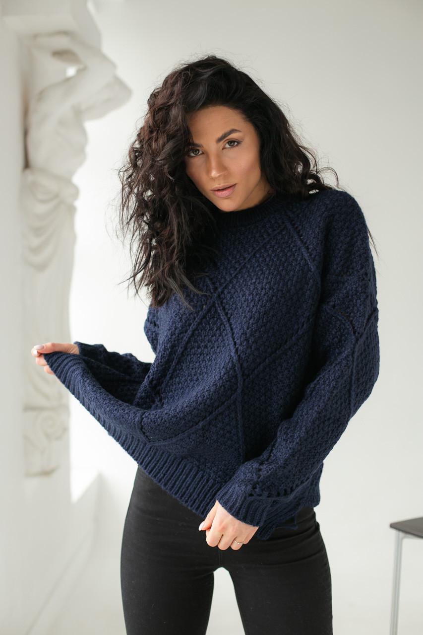 Теплый свитер крупной вязки ромбы LUREX - темно-синий цвет, L (есть размеры)