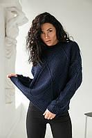 Теплый свитер крупной вязки ромбы LUREX - темно-синий цвет, L (есть размеры), фото 1