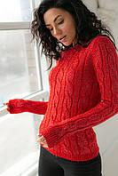 Вязаный с люрексом гольф косичкой P-M - красный цвет, S/M (есть размеры), фото 1