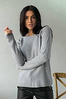 Джемпер свободного силуэта декорированный гранеными бусинами  P-M - серый цвет, L/XL (есть размеры), фото 1