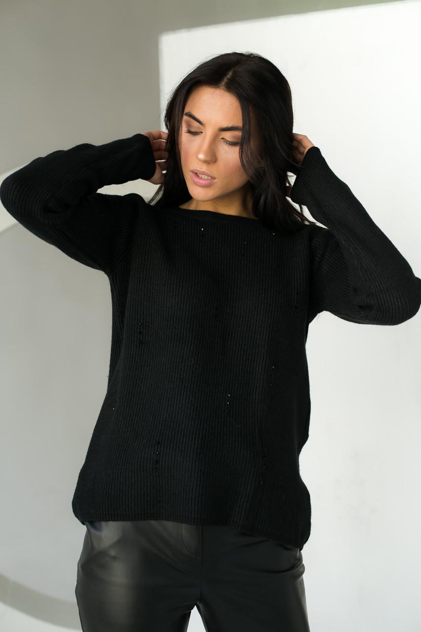 Джемпер свободного силуэта декорированный гранеными бусинами  P-M - черный цвет, L/XL (есть размеры)