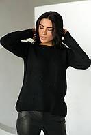 Джемпер свободного силуэта декорированный гранеными бусинами  P-M - черный цвет, L/XL (есть размеры), фото 1