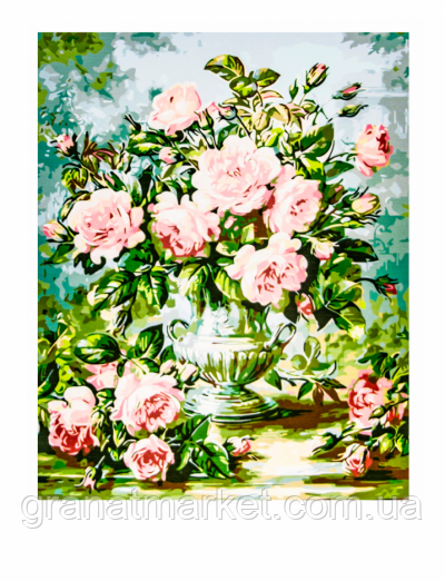 Картина по номерам H009 50 х 65 см Букет роз в вазе