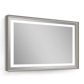 Зеркало 80*60см, в алюминиевой раме, с подсветкой, с подогревом, цвет капучино (мебель под умывальник VERITY