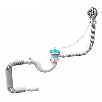 Сифон для ванны, PP, трубный, перелив до 500 мм, пробка на цепочке, гофра Ø40/50 мм