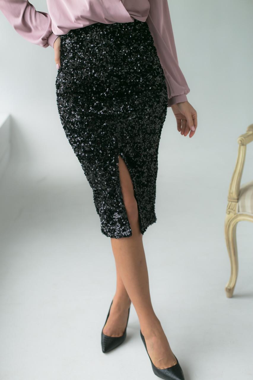 Приталенная велюровая юбка с пайетками Qi Yi - черный цвет, M (есть размеры)