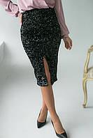 Приталенная велюровая юбка с пайетками Qi Yi - черный цвет, M (есть размеры), фото 1