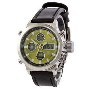 AMST Silver-Green Black Wristband