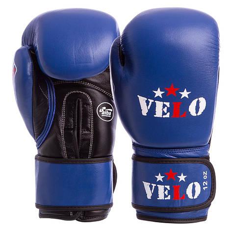 Перчатки боксерские профессиональные AIBA VELO кожаные 2081 (р-р 10-12oz, синий), фото 2