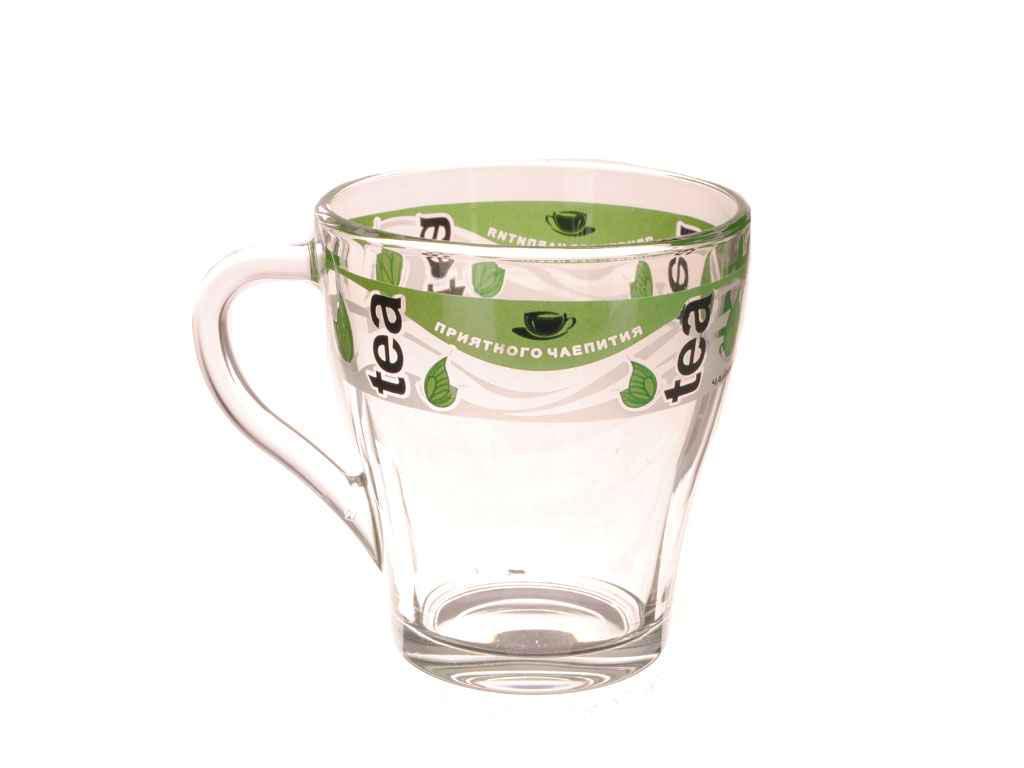 Чашка скляна Грація 250мл Зелений чай ТМ ОСБ