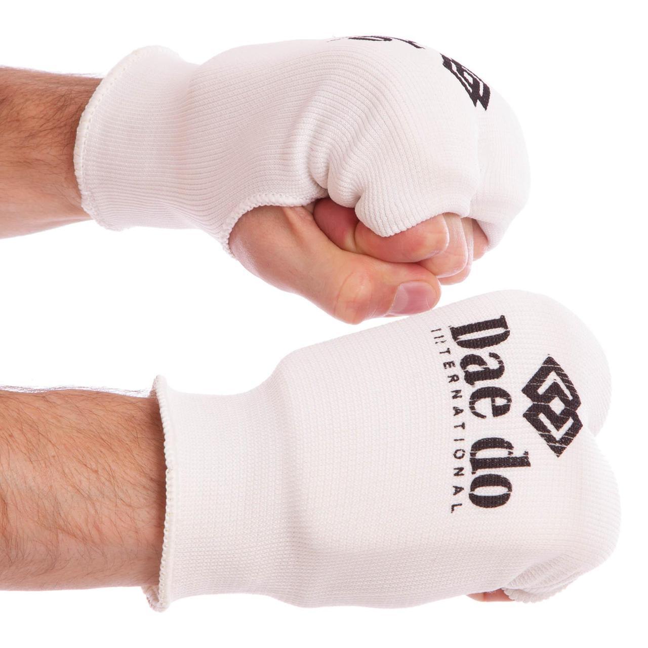 Накладки (перчатки) для каратэ DADO MA-0009D (PL, хлопок, эластан, р-р XS-L, белый)