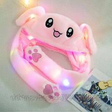 Карнавальная шапка с подсветкой: розовый зайчик с поднимающимися ушами