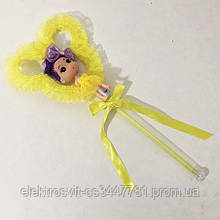 Кукла светящаяся на палочке. Желтая. 3 режима мерцания