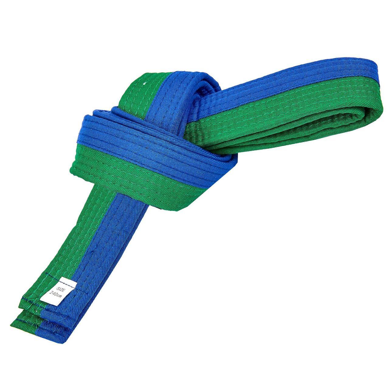 Пояс для кимоно двухцветный SP-Planeta BO-7257 (хлопок, размер 00-5, длина 220-280см, синий-зеленый)