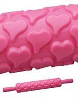Скалка текстурная Сердечки, L25см пластик Empire 8973