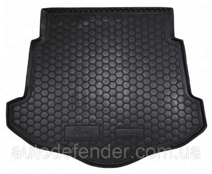 Коврик в багажник для Ford Mondeo IV 2007-2014 лифтбэк, с докаткой, резиновый (полиуретановый) Avto-Gumm