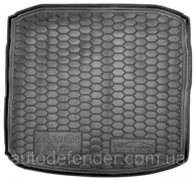 Коврик в багажник для Audi A3 2012-2019, седан, резиновый (полиуретановый) Avto-Gumm