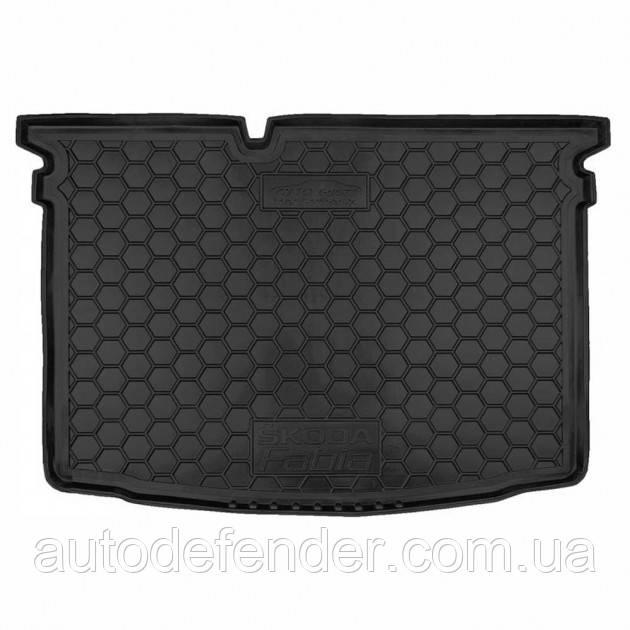 Коврик в багажник для Skoda Fabia III 2015-, хетчбек, резиновый (полиуретановый) Avto-Gumm