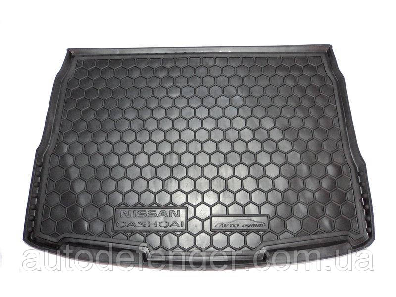 Коврик в багажник для Nissan Qashqai II 2014-2017, резиновый (полиуретановый) Avto-Gumm