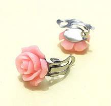 Клипсы для ушей светло-розовые Розы