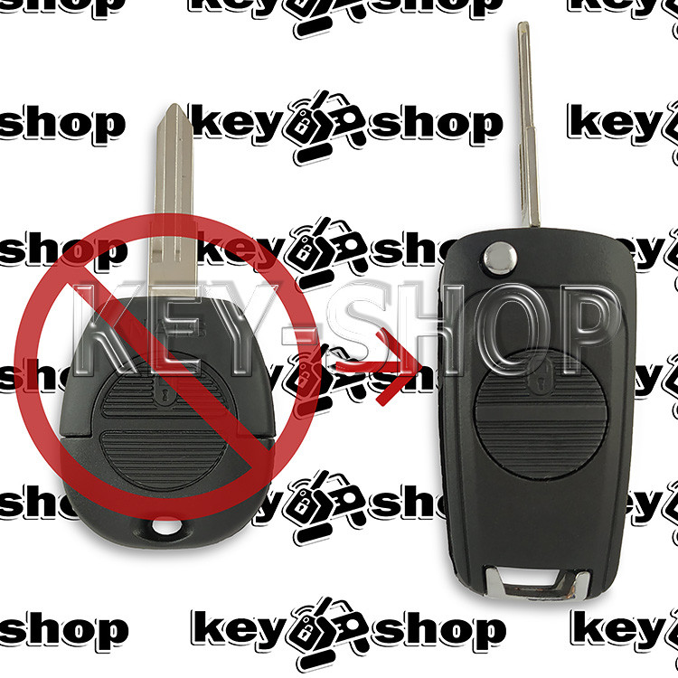 Корпус выкидного ключа для Nissan (Ниссан) 2 - кнопки, лезвие NSN11 (под переделку)