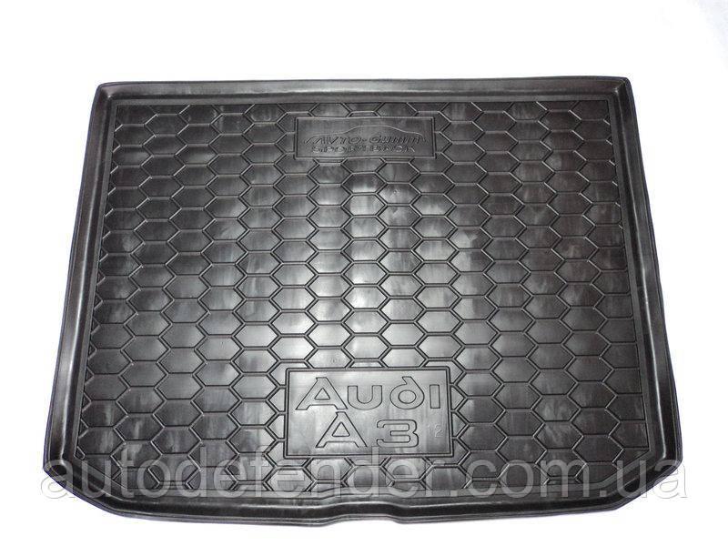 Коврик в багажник для Audi A3 2012-2019 Sportback, hatchback резиновые, черные Avto-Gumm