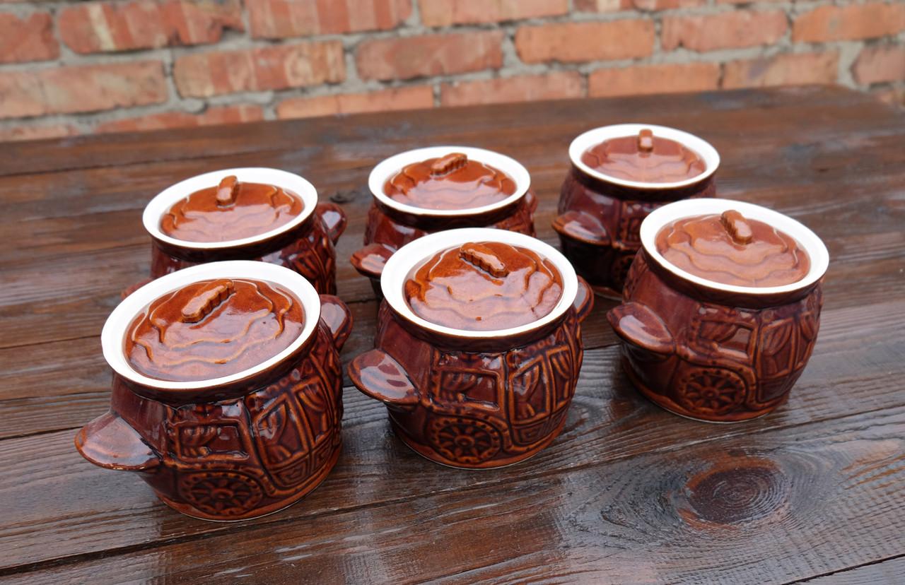 Набір горщиків для духовки «Карета» коричневі кераміка 550 мл 6 шт (762)