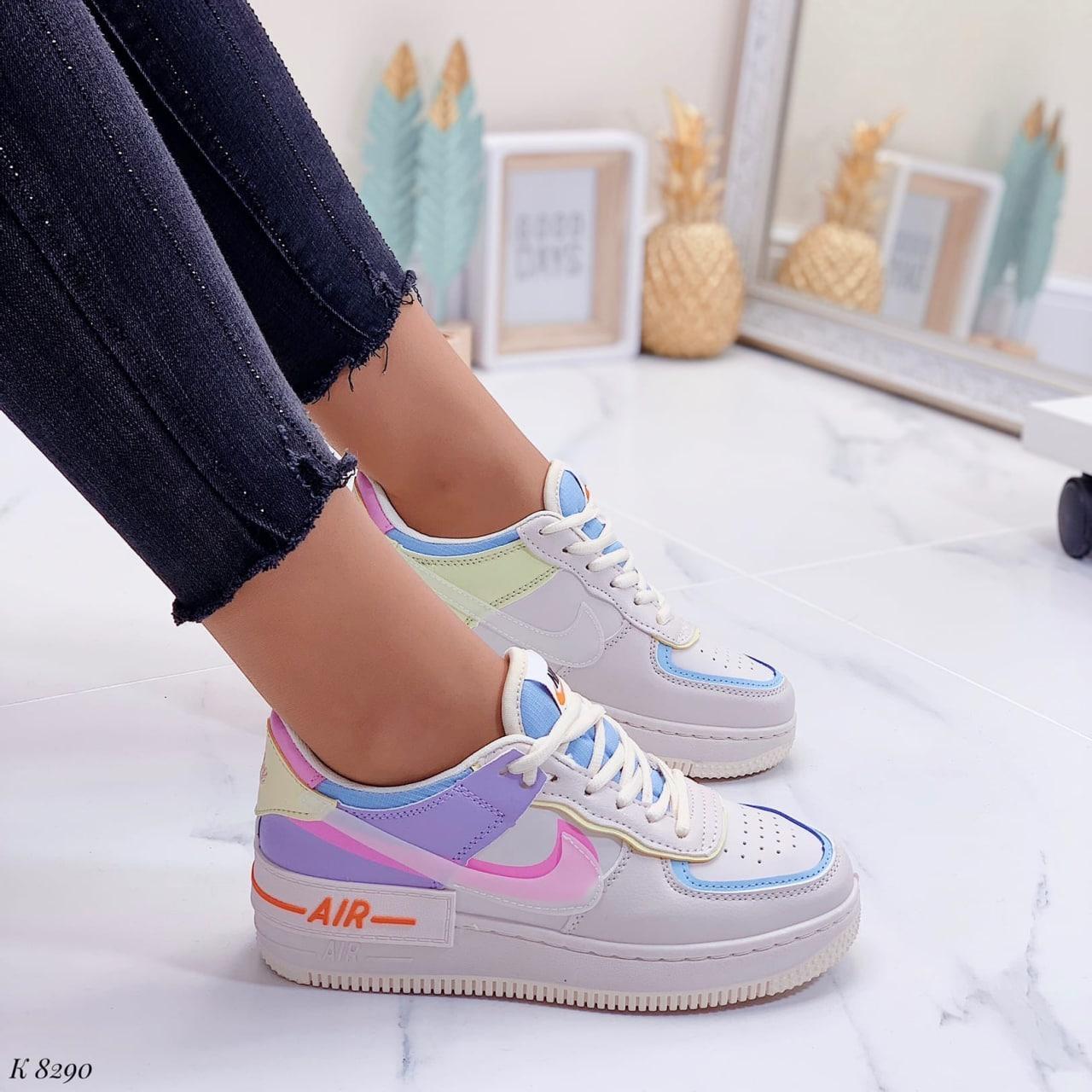Женские / подростковые кроссовки Nike бежевые натуральная кожа +эко-кожа