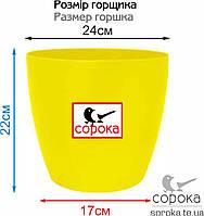 Вазон для цветов Алеана Матильда 24*22см желтый 7,6л (Горшок для цветов пластиковый Алеана Матильда), фото 2