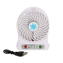 Мини вентилятор mini fan с аккумулятором (Белый)