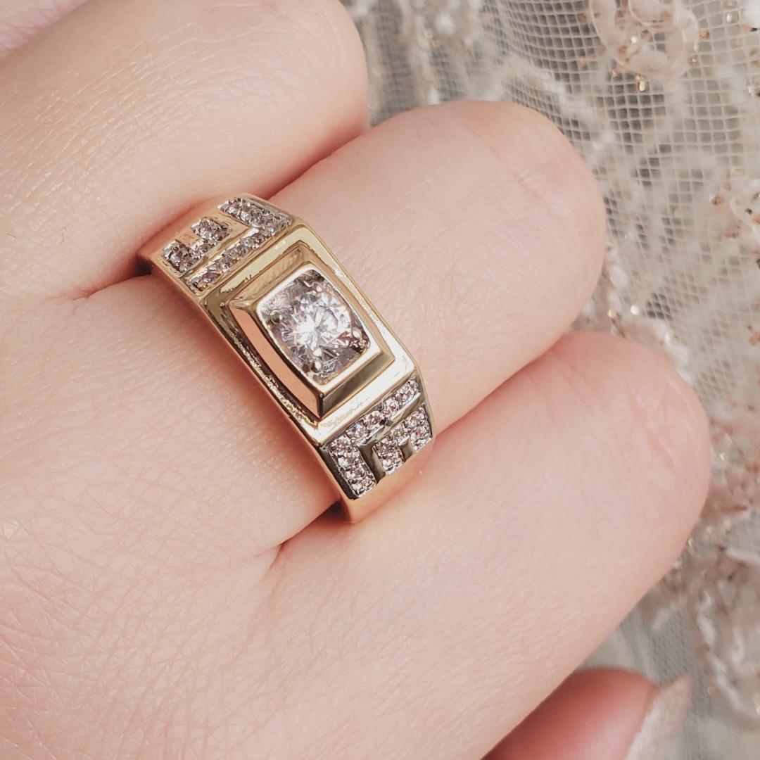 Кольцо xuping 12р 9мм печатка мужская медицинское золото позолота 18К м455