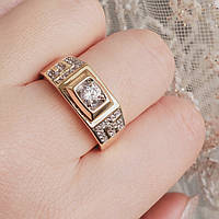 Кольцо xuping 12р 9мм печатка мужская медицинское золото позолота 18К м455, фото 1