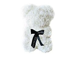 Гарний ведмедик з латексних 3D троянд 25 см з стрічкою в подарунковій коробці   Білий