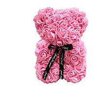 Гарний ведмедик з латексних 3D троянд 40 см з стрічкою в подарунковій коробці   Рожевий