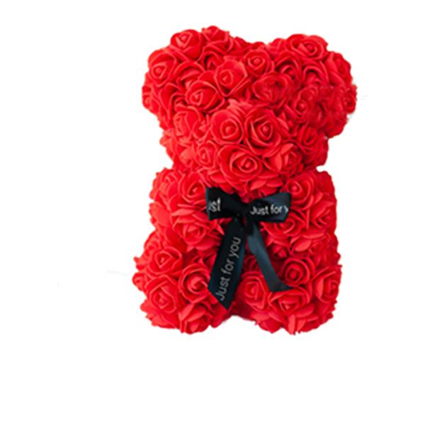 Красивый мишка из латексных 3D роз 40 см с лентой в подарочной коробке | Коралловый