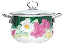 Емальована каструля з кришкою Benson BN-111 біла з квітковим декором (1,9 л)   кухонний посуд   каструлі