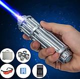 Лазерная указка с насадками Blue Laser B017 Синяя   лазер в кейсе, фото 7