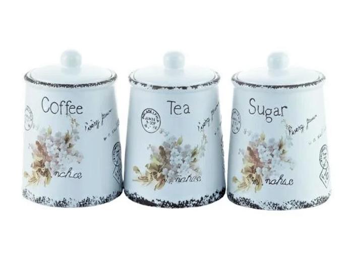 """Набір ємностей для цукру, кави і чаю """"Листівка-незабудка"""" Maestro MR-20049-03CS (3 шт)   кухонні баночки"""