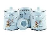 """Набір ємностей для цукру, кави і чаю """"Листівка-незабудка"""" Maestro MR-20049-03CS (3 шт)   кухонні баночки, фото 3"""