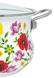 Емальована каструля з кришкою Benson BN-120 біла з квітковим декором (5.9 л) | кухонний посуд | каструлі, фото 2