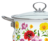 Емальована каструля з кришкою Benson BN-120 біла з квітковим декором (5.9 л) | кухонний посуд | каструлі, фото 4