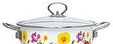 Емальована каструля з кришкою Benson BN-120 біла з квітковим декором (5.9 л) | кухонний посуд | каструлі, фото 5