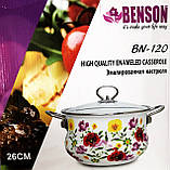 Емальована каструля з кришкою Benson BN-120 біла з квітковим декором (5.9 л) | кухонний посуд | каструлі, фото 7