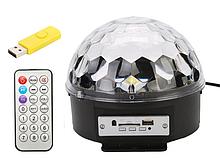 Світломузика диско куля Magic Ball Music MP3 плеєр з bluetooth   блютуз дискошар