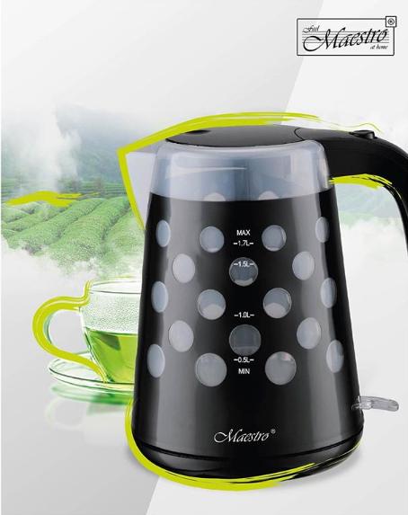 Чайник Maestro MR-045 чорний (1.7 л, 2200 Вт) | електричний чайник Маестро, Маестро