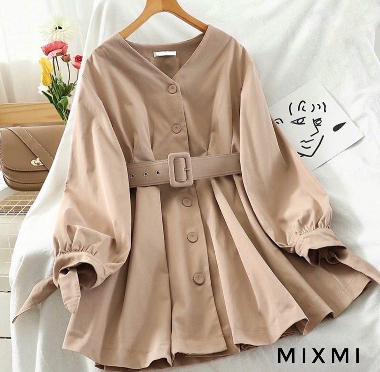 Платье с длинным рукавом на пуговках
